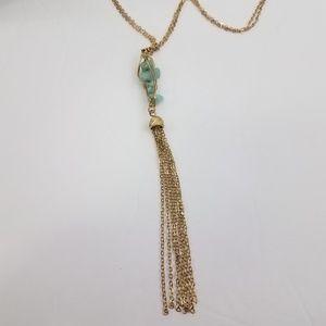 Jewelry - Tassel Beaded Wire Wrap Gold Tone Boho Hippie long
